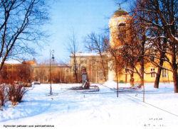 Luonnostelma Mikael Agricolan muistomerkistä Pietari-paavali kirkon edustalla Viipurissa.