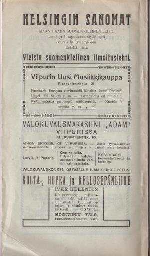 Oppaan takakansi. Kansanvalistusseuran yleisen Laulu-, soitto- ja urheilujuhlan opas (19.-21.6.1908).