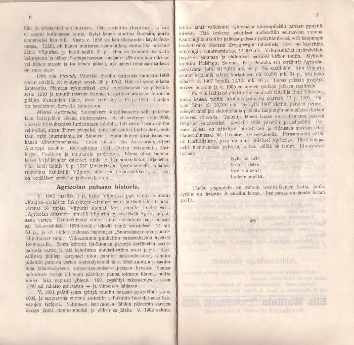 Esittelyteksti Agricolan patsashankkeen vaiheista. Kansanvalistusseuran yleisen Laulu-, soitto- ja urheilujuhlan opas (19.-21.6.1908). Turun yliopiston pääkirjasto.